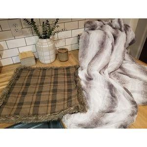 West elm bundle faux fur plaid pillow and blanket